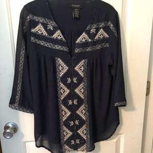 MM Couture by Miss Me, Beaded navy tunic top, Med